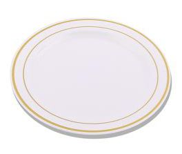 9.5  White / Gold Band Rimini Plastic Plates  sc 1 st  Pinterest & 9.5