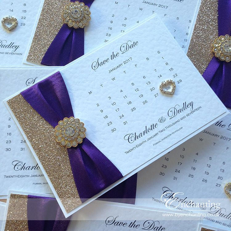 Save The Date Calendars In Purple And Gold Handmade Wedding Invitations Wedding Invitations Wedding Cards