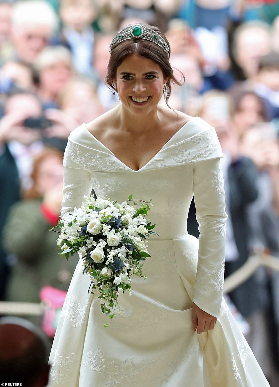 Princess Eugenie wears Queen's emerald tiara for royal