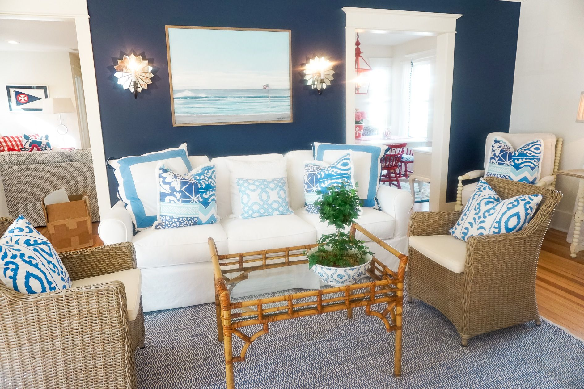 Coastal Living Beach House Red White And Blue Decorations In Family Room On Long Island Www Amybelievesinpink