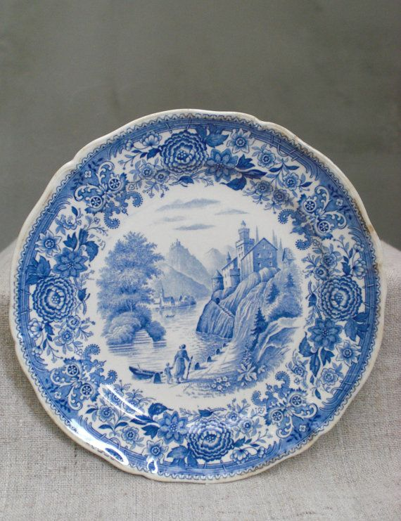 blue and white plate Antique old Villeroy u0026 Boch transferware serving platter German Villeroy and Boch collectible made in France rustic & blue and white plate Antique old Villeroy u0026 Boch transferware ...
