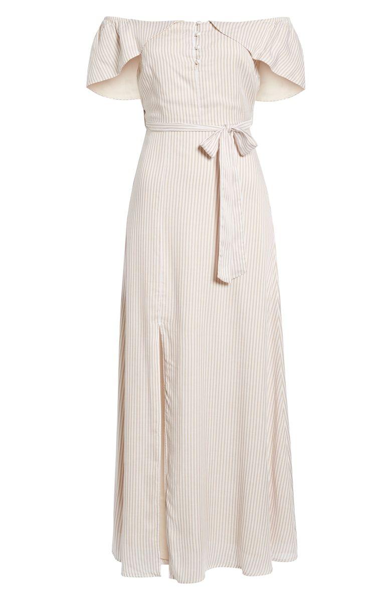 977eb912f06b9 Off-Shoulder Tie Waist Maxi Dress, Alternate, color, Tan Ivory Stripe