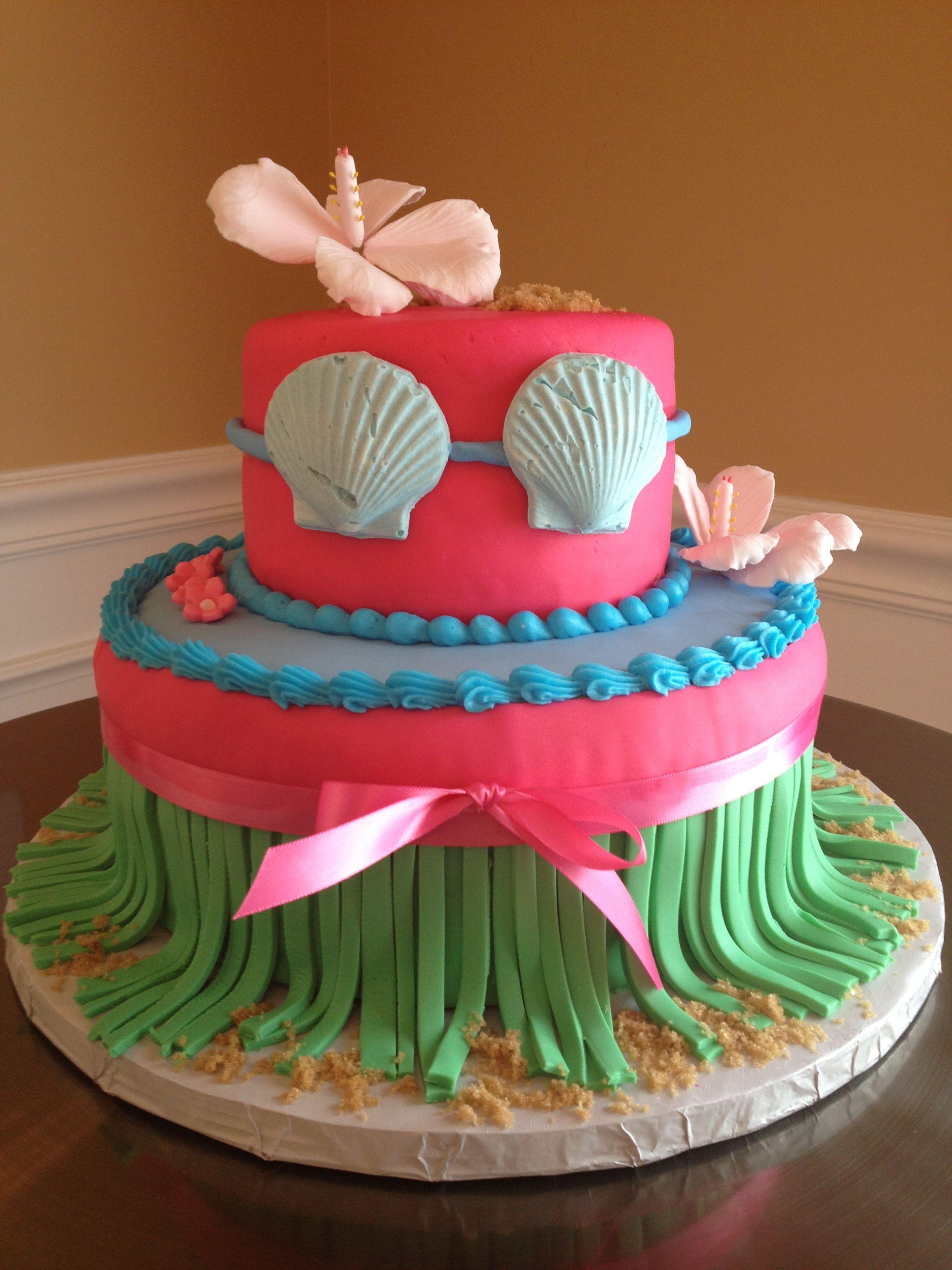 hawaiian theme bridal shower cake