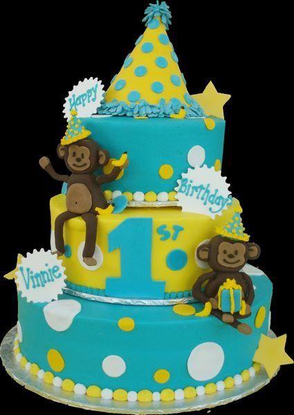 Astonishing Monkey 1St Birthday Cake Aqua And Yellow Buttercream Iced 3 Personalised Birthday Cards Petedlily Jamesorg