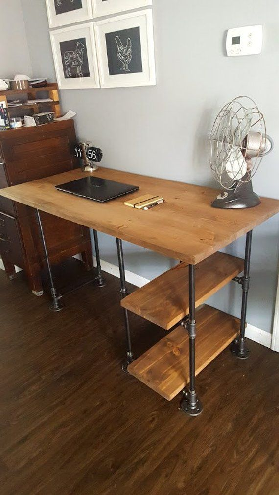 Industrial office desk Black Pipe Desk With Shelves Rustic Desk Industrial Pipe Desk Wood Office Desk Reclaimed Wood Desk Of Pinterest Pipe Desk With Shelves Rustic Desk Industrial Pipe Desk Wood