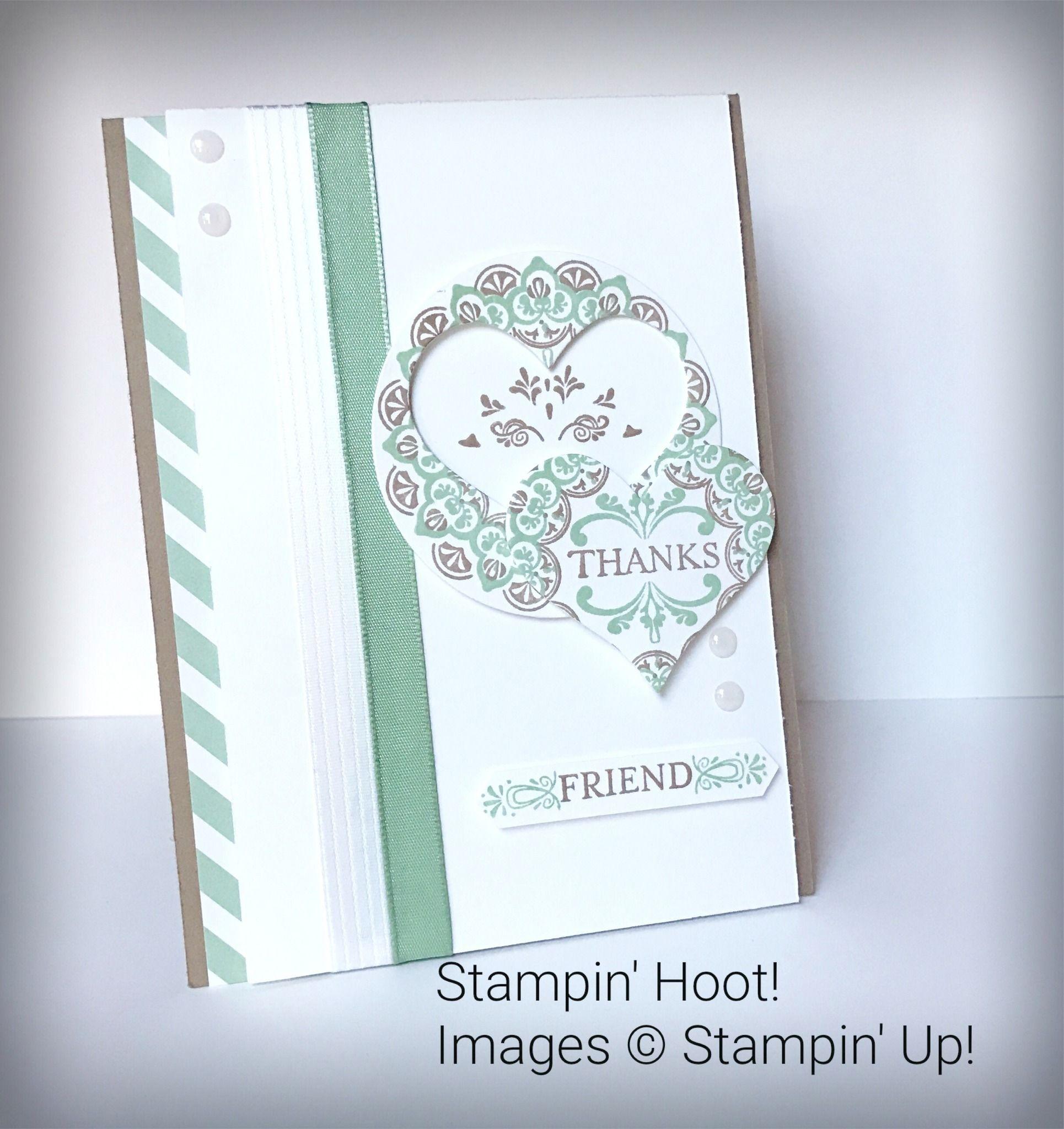 Make A Medallion Heart Set  2017 Saleabration Stampin' Up! Handmade Cards Thank you