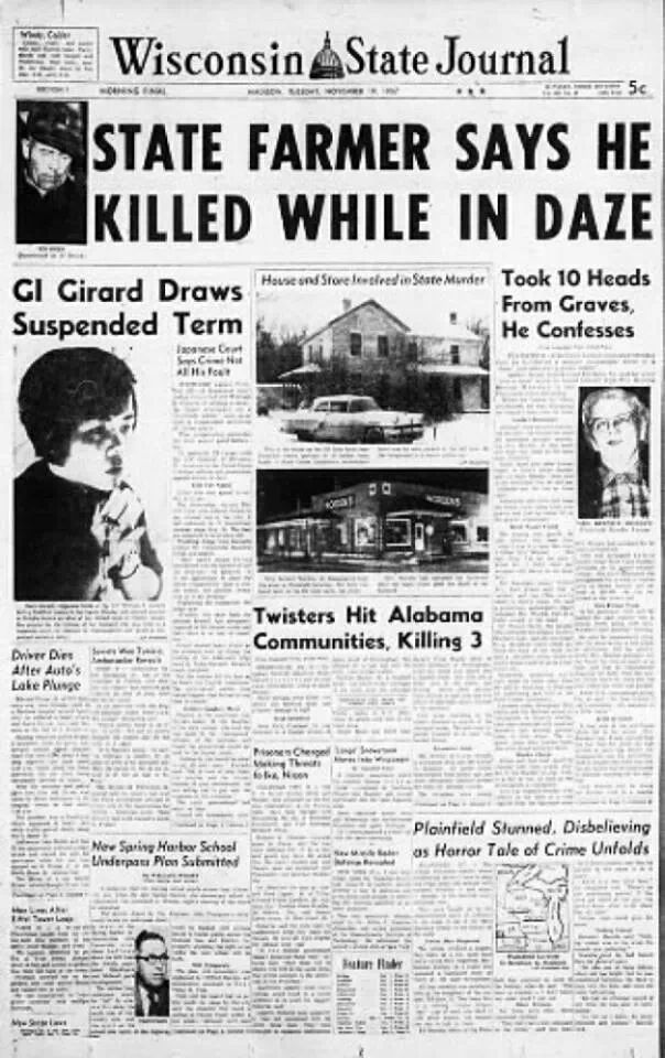 Ed Gein Biography And Crime Scene Photos Newspaper Newspaper
