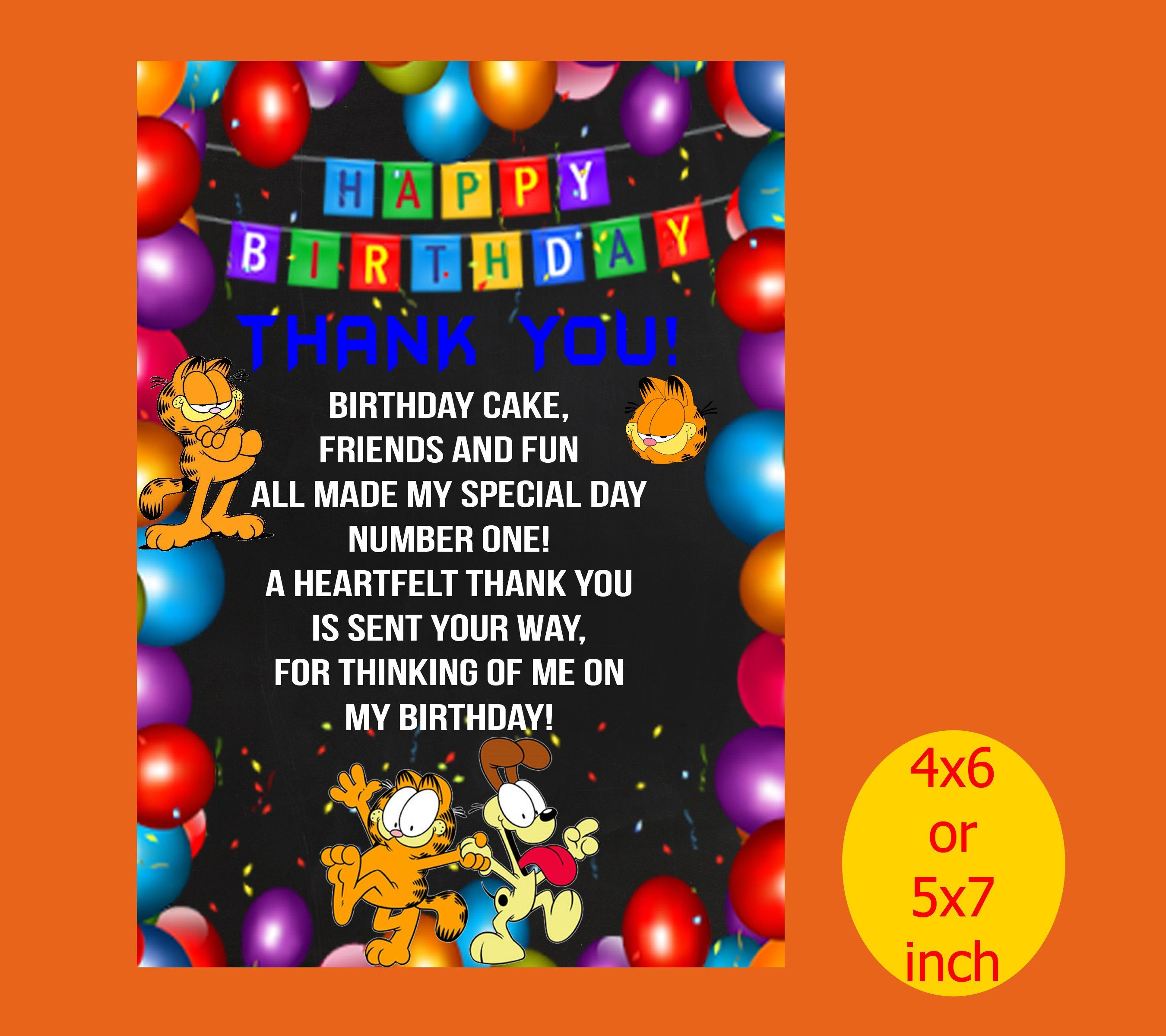 Garfield Birthday Invitation Thank You Party Printable Instant Download By Ranikart On Etsy