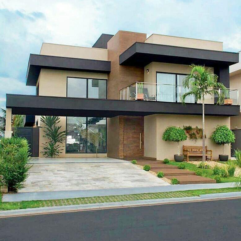 Casa moderna sem muro e com beirais preto projeto eric for Casa moderna design