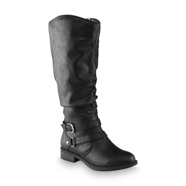 Jaclyn Smith Women's Erica Black Riding Boot – Wide Width Available