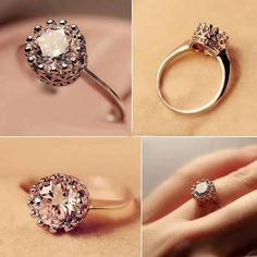 fashion crown shape zircon engagement ring for women - Crown Wedding Rings