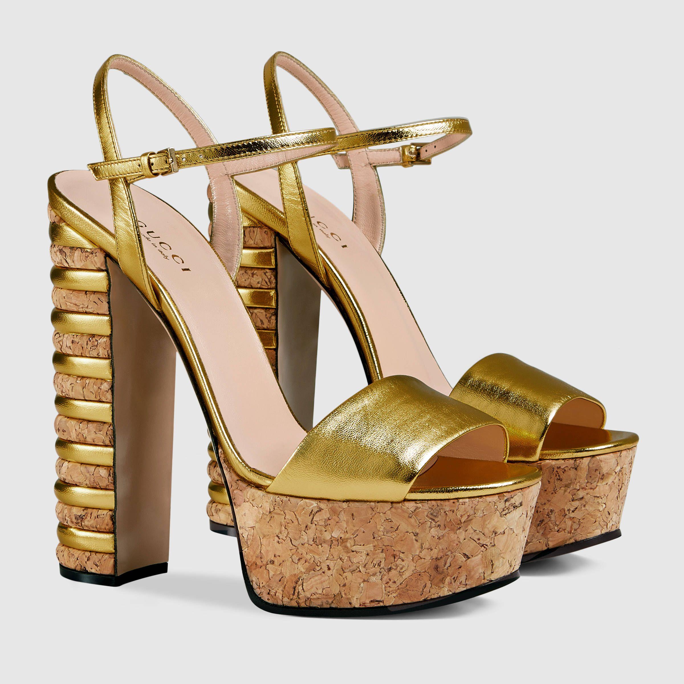 a8b6f2c50e8b Gucci Women - Gucci Metallic Gold leather platform sandals -  890.00 ...