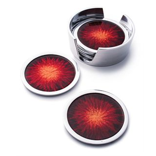Fairtrade Recycled Aluminium Set of 6 Red Coasters with Holder £18.00