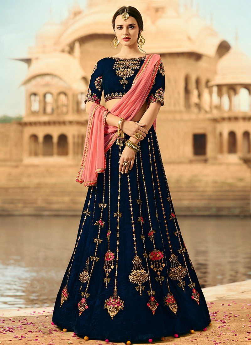 c7d2728020 Navy Blue and Pink Embroidered Velvet Lehenga | K | Indian bridal ...
