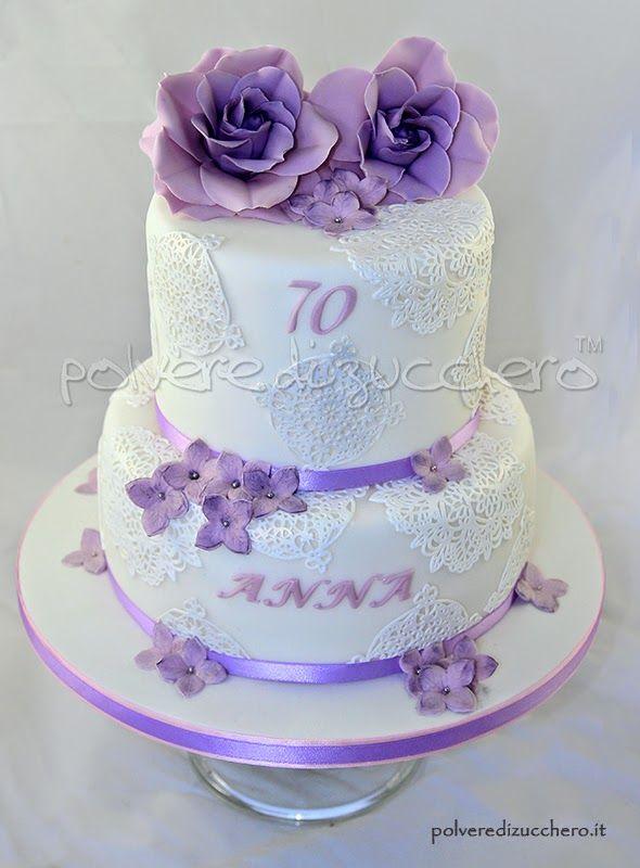 Torta compleanno con rose lilla birthday cake with lilac for Torte di compleanno a due piani semplici