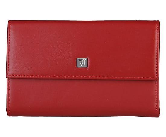 Portafoglio donna in pelle rosso, 16x10x3 cm