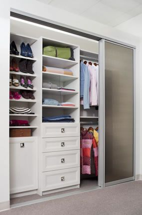 Reach In With Sliding Door Closet Designs Reach In Closet
