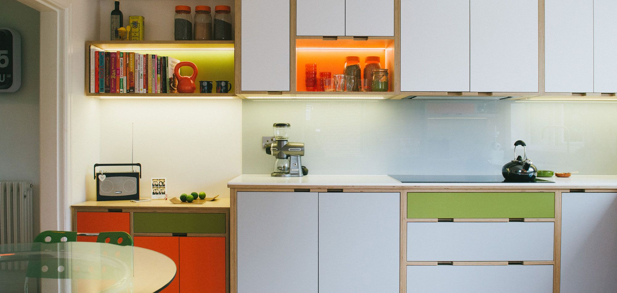 birch plywood kitchen with laminated doors and shelving units don t