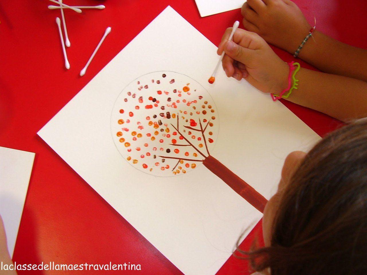 Творческие занятия с детьми: рисуем осеннее дерево ватными ...