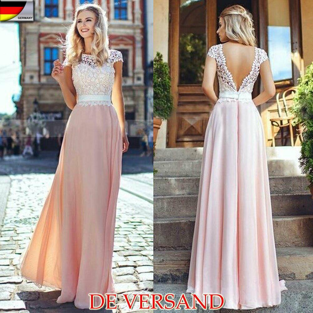 DE Damen Brautjungfern Hochzeit Lang Maxi Kleid Abendkleid