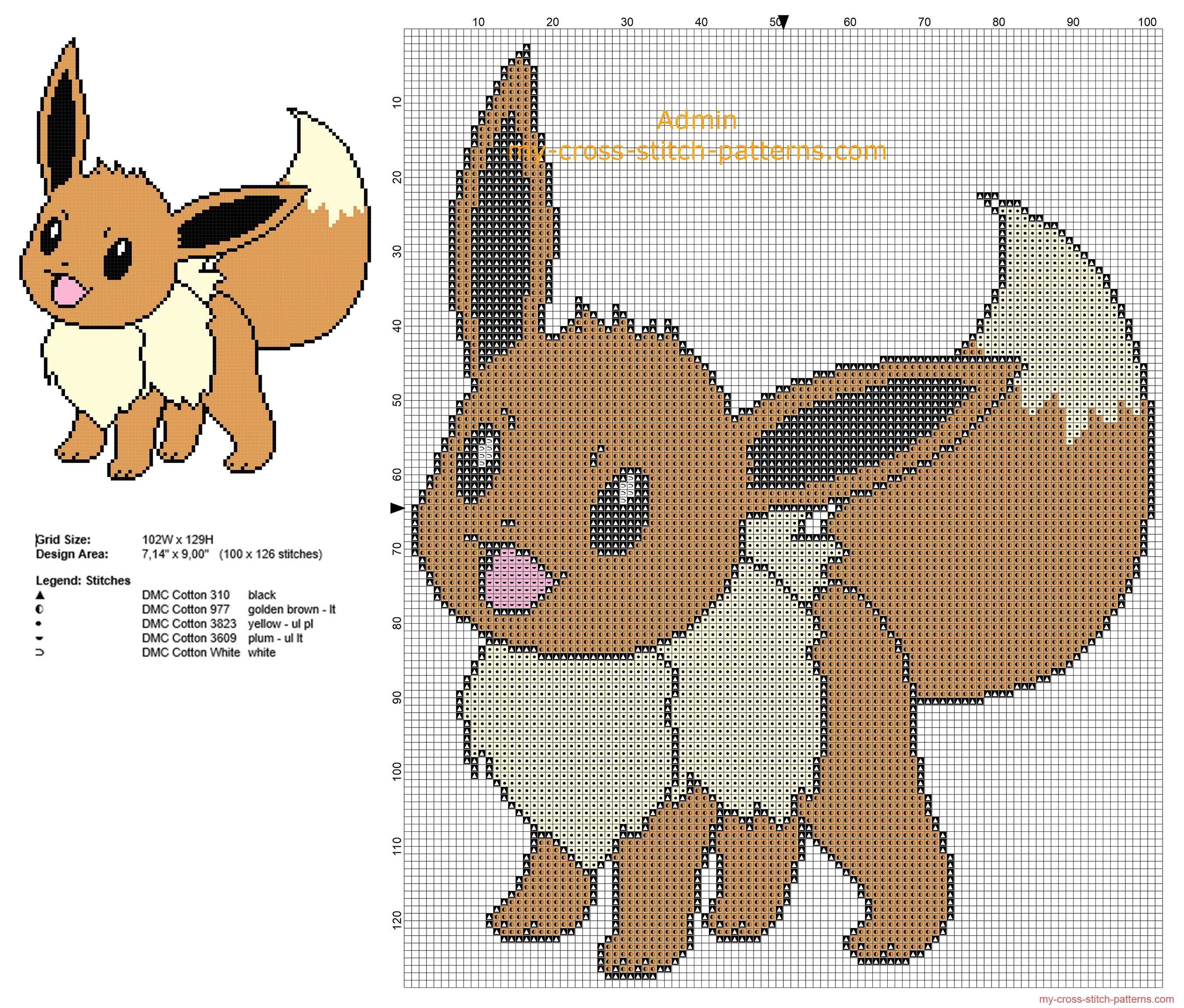 Eevee Pokemon first generation number pokedex 113 free cross stitch ...