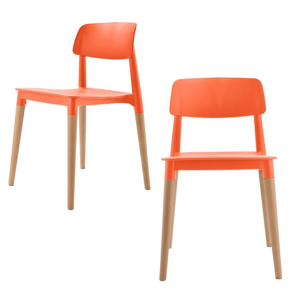 Bel Series Orange Modern Accent Dining Side Chair With Beech Wood