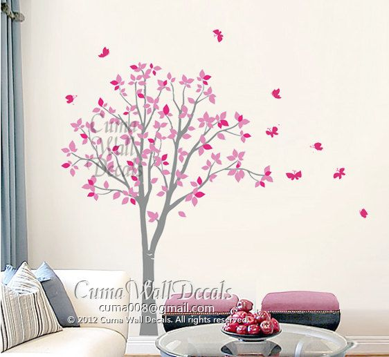 Stickers muraux vinyl rose hibou arbre et papillon nature - Stickers arbre chambre fille ...