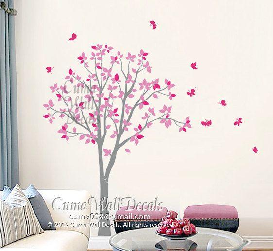 stickers muraux vinyl rose hibou arbre et papillon nature. Black Bedroom Furniture Sets. Home Design Ideas