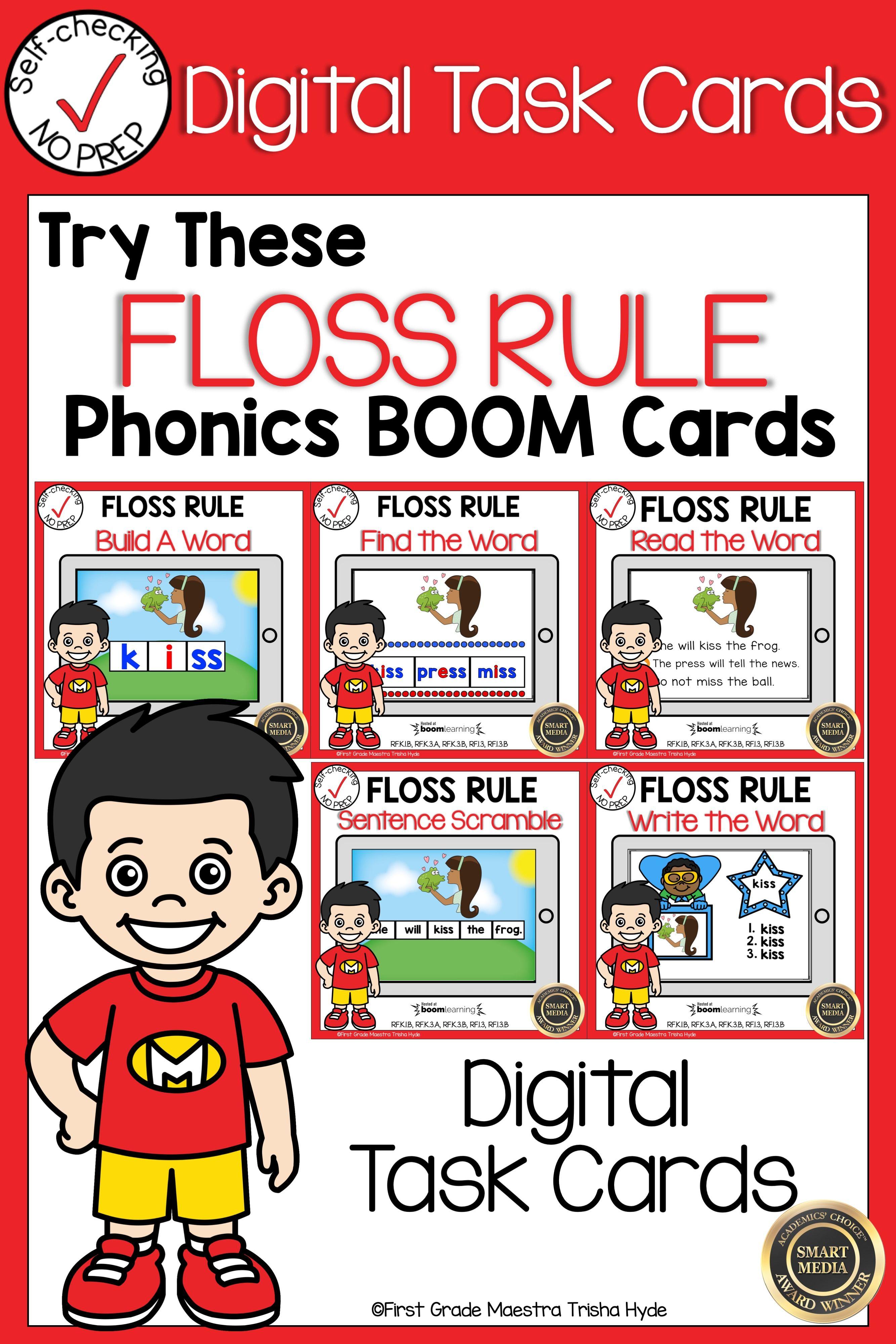Boom Cards Floss Rule Phonics Bundle