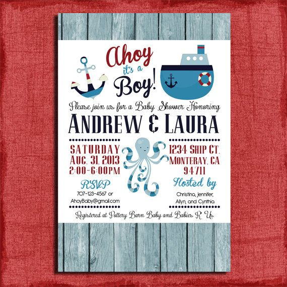 Awesome Printable Ahoy Itu0027s A Boy Nautical Themed Couples Baby Shower 4x6 Or 5x7  Invitation DIY