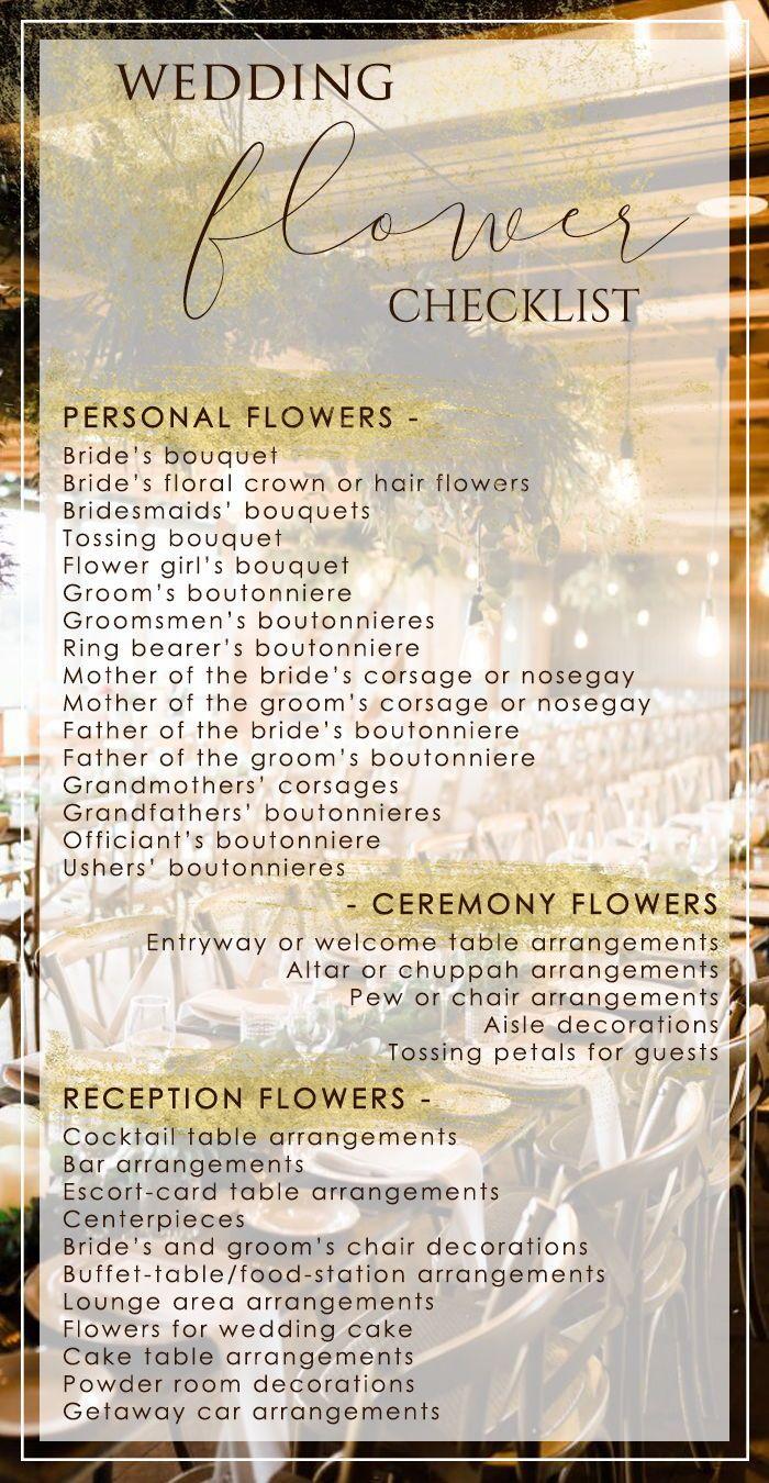 Wedding Flower Checklist - PaperStudioByC