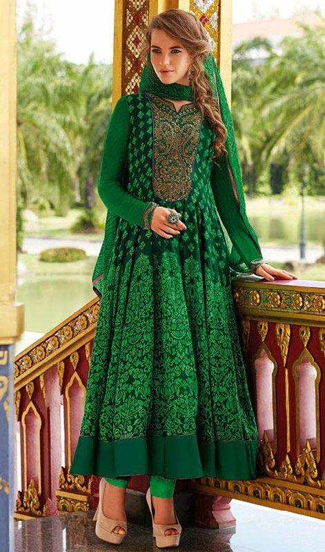 Printed Cotton Anarkali Chudidar Suit With Leheria Dupatta