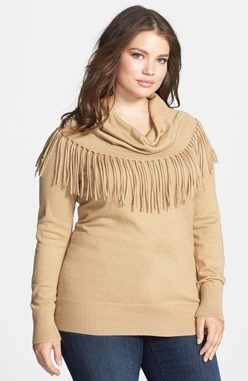 MICHAEL Michael Kors Fringed Cowl Neck Sweater (Plus Size) available at #Nordstrom