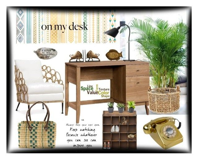"""""""What's on my desk"""" by sandra-bo ❤ liked on Polyvore featuring interior, interiors, interior design, home, home decor, interior decorating, Threshold, AnnaBee, Wild & Wolf and Bellagio"""