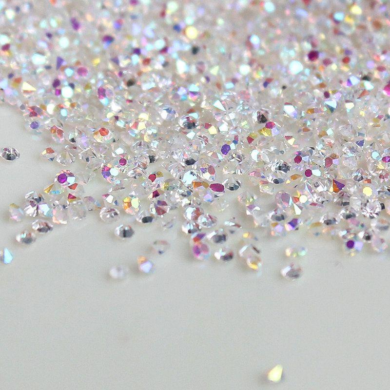 Hot 1440 unids/lote 1.1mm Borrar AB Rhinestones Del Arte Del Clavo de Cristal Micro Nail Rhinestones Mini Decoraciones Del Arte Del Clavo de Manicura Accesorios