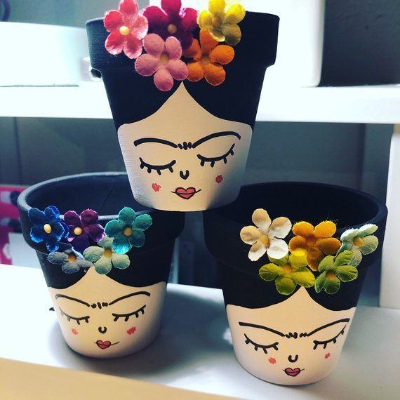 3 Small, Frida Decorated, Cactus and Succulents Pots