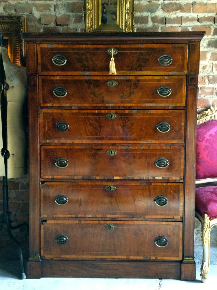 George Iii Antique Tallboy Chest Of Drawers Secretaire Mahogany Th Century