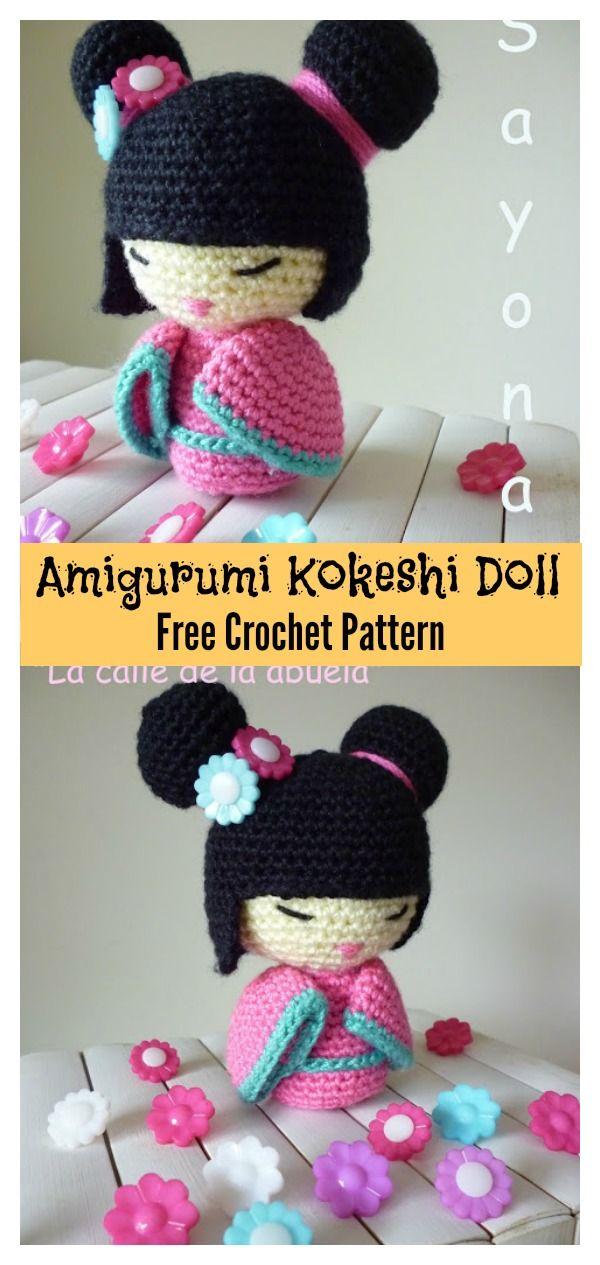 Amigurumi Kokeshi Doll Free Crochet Pattern   Patrones amigurumi ...