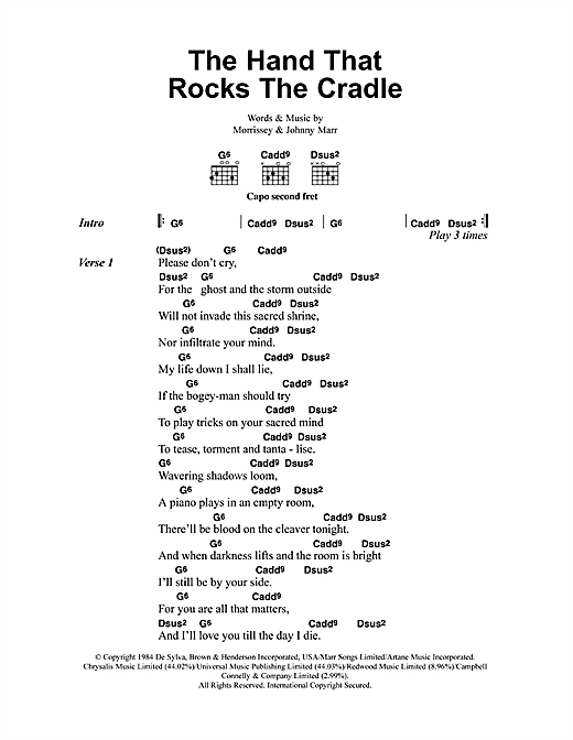 The Smiths The Hand That Rocks The Cradle Sheet Music Notes