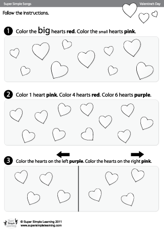Skidamarink Color The Hearts Valentine\'s Day Worksheet from Super ...