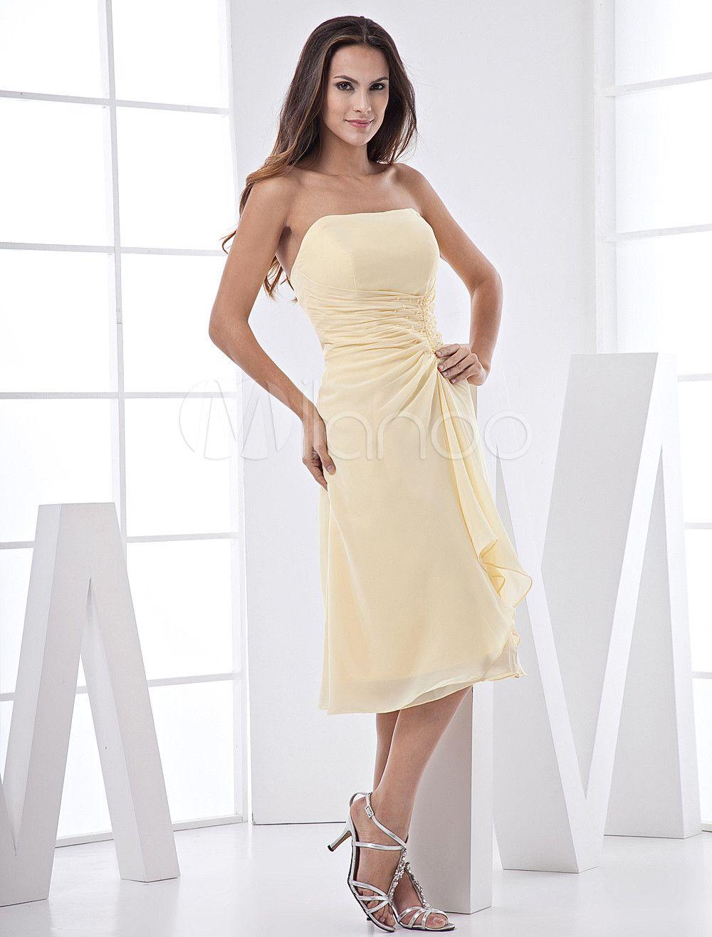 27ce7dfd01 A-line Tea-Length Bridesmaid Dress With Drape Front  Length