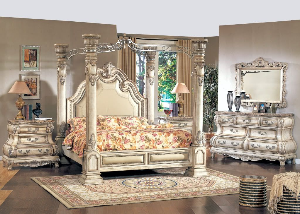 Queen White Poster Canopy Bed w/ Leather & Marble Tops 4 piece ...
