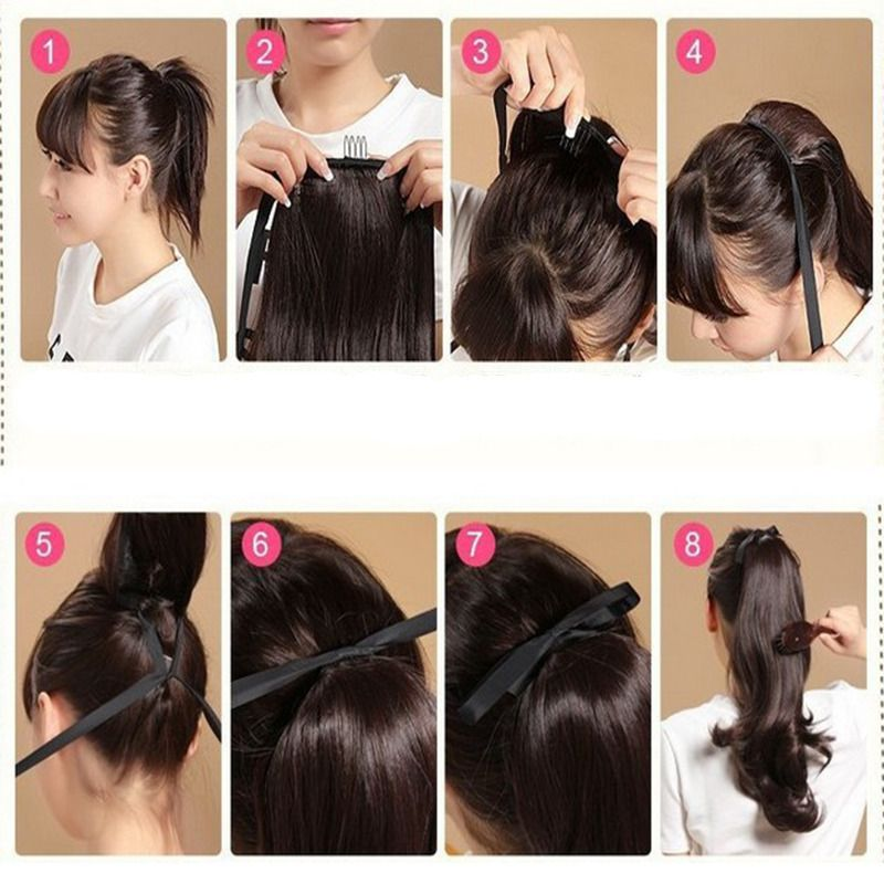 How To Install Lace Tie Ponytail Long Hair Styles Clip In Ponytail Hair Extensions