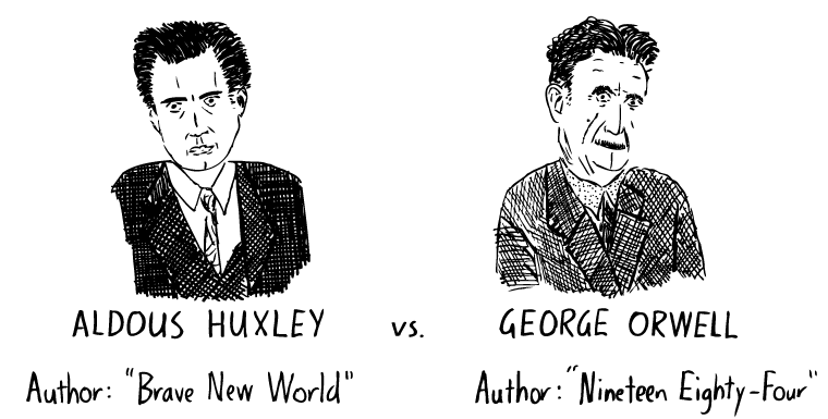 amusing ourselves to death cartoon mcmillen s graphic comparison  amusing ourselves to death cartoon mcmillen s graphic comparison of huxley and orwell s predictions as