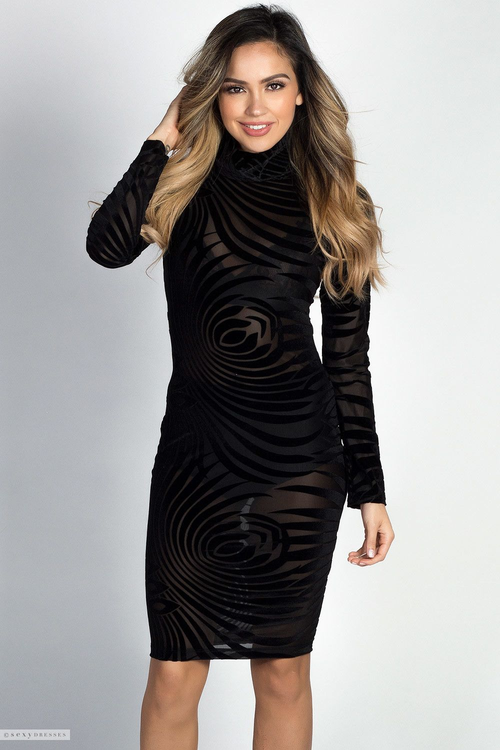 30ccc27df2ce Bodycon Long Sleeve Turtleneck Burnout Velvet See Through Dress Velvet  Dresses