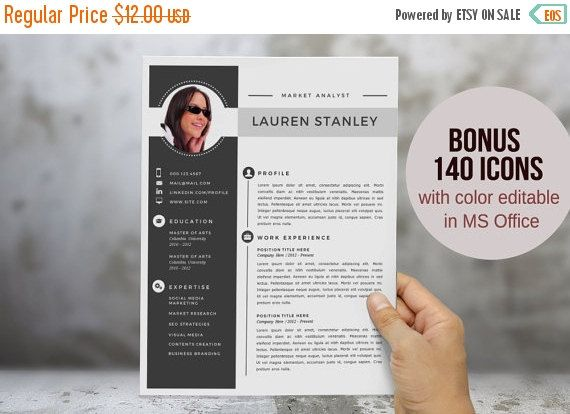 2 in 1 modern photo resume template for MS Word by wordtemplates - modern word templates