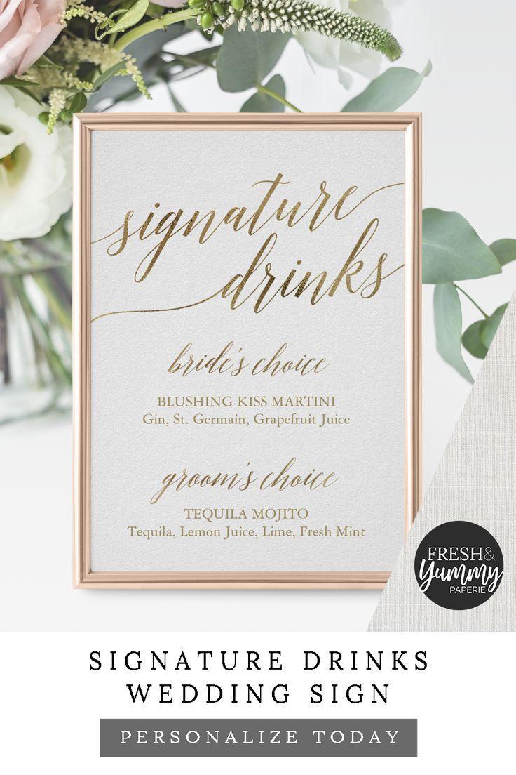 Elegant Gold Calligraphy Signature Drinks Sign | Zazzle.com