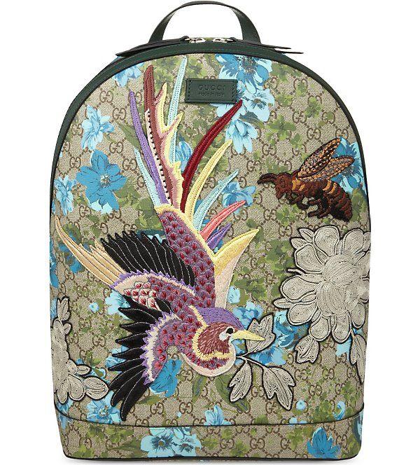 de6db83fbd8e GUCCI - GG floral print phoenix embroidered backpack