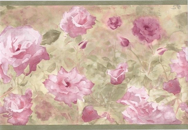 Interior Place - Green Watercolor Pink Floral Wallpaper Border, $12.99 (http://www.interiorplace.com/green-watercolor-pink-floral-wallpaper-border/)
