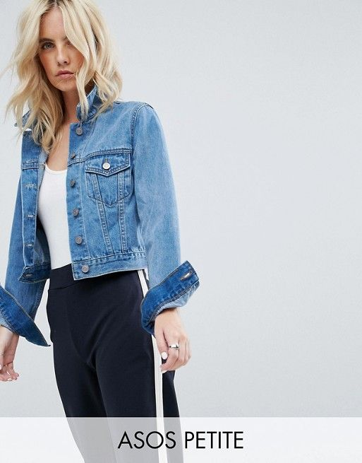 8d03bc1d4ca DESIGN Petite denim shrunken jacket in midwash blue